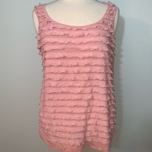 Soft pink tank tiered front ruffles